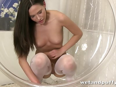 Hungarian nymph playing with her luscious pussy