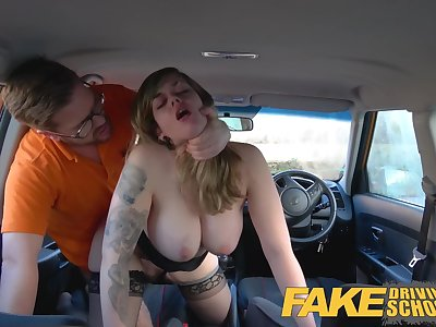 Fake Driving School 34F Boobs Bouncing in driving lesson