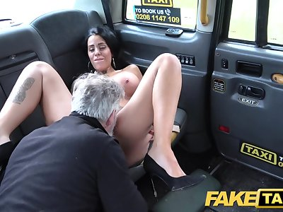 Fake Taxi Tattoos big juicy udders and long sexy legs gets anal