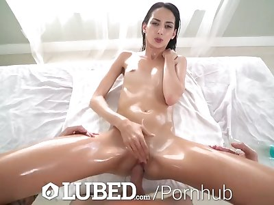 LUBED Summer oiled up soaking wet rough sex with brunette