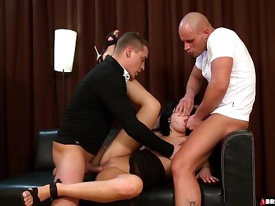 Lucy Bell Gets Double Teamed And Roughed Rock hard