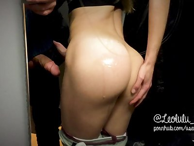 Trying yoga pants and fucking in the shop! - LeoLulu Public Sex