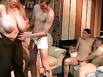 Big blonde rides and deep throats cock at party